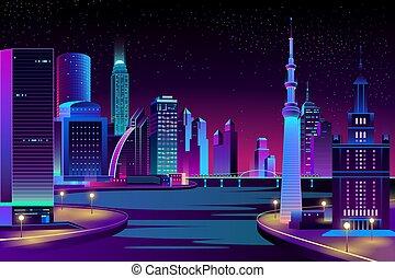 night., megapolis, ベクトル, 川, 都市