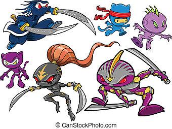 ninja, cyborg, セット, ロボティック, 戦士