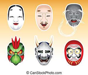 |, noh, セット, kyogen, 日本, 2, マスク