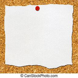 noticeboard., 引き裂かれた, 付けられる, コルク, ペーパー, 白