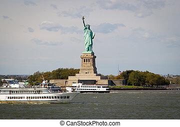 ny, 自由, 観光客, 像, 群がること