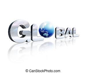 o.。, 単語, d, レタリング, chromed, 全体的な地球, わずか, 3, 場所, 反射, perspective., 地球, 白, surface., 見られた