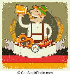 oktoberfest, テキスト, ペーパー, 古い, イラスト, posterl, 人, beer., ベクトル, ドイツ語, 型