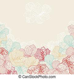 orchid., 花, 抽象的, seamless, 優雅さ, 背景