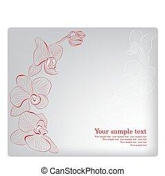 orchid., card., 母, 挨拶, ベクトル, 日