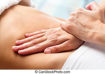 osteopathic, 腹, massage.