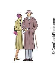 outdoor., 服, 1920's., スタイル, 男の女性, 上着類, 恋人, 型