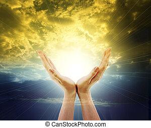 outstreched, 太陽, 空, ∥に向かって∥, 手, 照ること