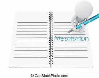 page., 人々, 執筆, ノート, 白, 瞑想, 3d