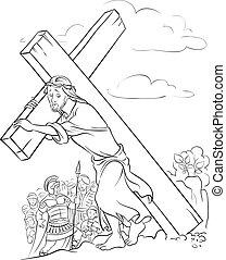 page., 着色, 届く, 交差点, イエス・キリスト