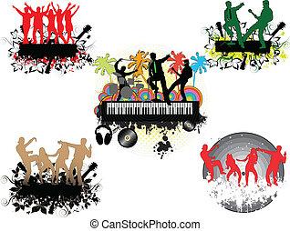 palm-grunge, コンサート, 背景, 下に