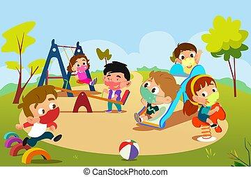 pandemic, 運動場, 遊び, 子供, イラスト, の間