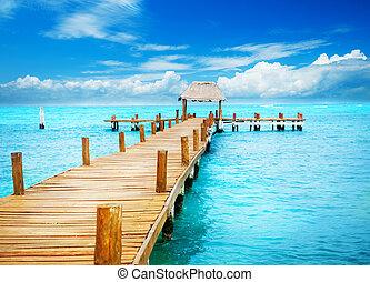 paradise., tropic, mujeres, 休暇, 突堤, メキシコ\, isla