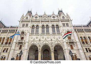 parliament., 側, ハンガリー人, 光景