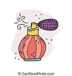 perfumes., perfume., 準備, びん, イラスト, ベクトル
