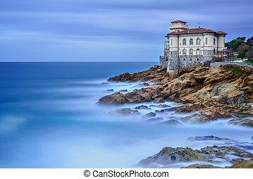 photography., boccale, italy., トスカーナ, 長い間, sea., 岩, ランドマーク, 城, 崖, さらされること