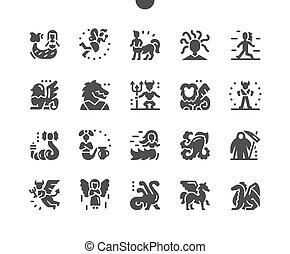 pictogram, 天使, 神話, fairytale, 固体, yeti, 特徴, 神秘主義者, ベクトル, 妖精, dragon., 単純である, デーモン, icons., gorgon, ケンタウロス, creatures., pegasus, クラゲ, mermaid, magic., minotaur, 神話である