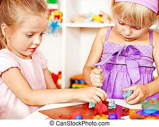 plasticine., 遊び, 子供