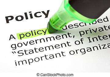 'policy', ハイライトした, 緑
