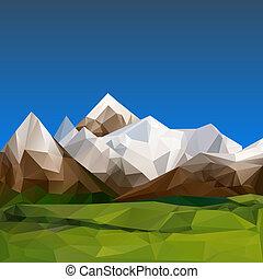 polygonal, 山が多い, 地勢, 背景