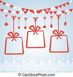 postcard., 陽気, 年, 新しい, クリスマス, 幸せ