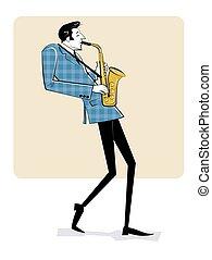poster., ジャズ, イラスト, 型, 手, sketch., 人, saxophone., 遊び, 概念, 引かれる