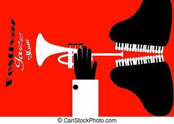 poster., illustration., 形態, 祝祭, ジャズ, 人, ベクトル, trumpet., プレーする, ピアノ