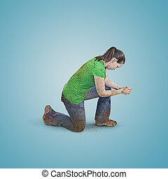 praying., 女, 汚い