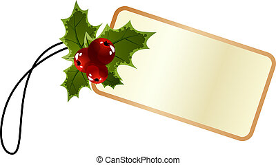 promo, 西洋ヒイラギ, タグ, クリスマス, ブランク