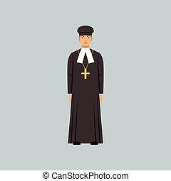 protestantism, カトリック教, soutane, 司祭, confession, イラスト, ベクトル, 黒, 代表者, 宗教