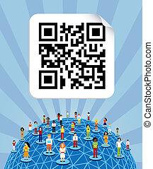 qr, ネットワーク, 媒体, 世界的である, コード, 社会, 世界, のまわり
