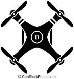 quadcopter, ベクトル, 黒, rc, 無人機
