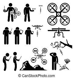 quadcopter, 無人機, 制御, 人