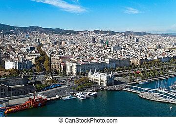 rambla, スペイン, カタロニア, 水平に, 傷つけなさい, 打撃。, 枠にはめられた, バルセロナ, del, 都市の景観, europe.