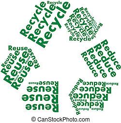 recyle, テキスト, シンボル, 減らしなさい, 再使用