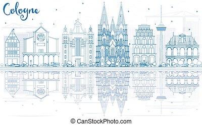 reflections., 建物, オーデコロン, スカイライン, アウトライン, 青