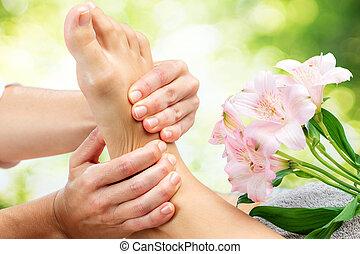 reflexology, massage., 弛緩