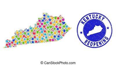 reopening, コラージュ, ケンタッキー, 切手, 州の地図, 傷付けられる