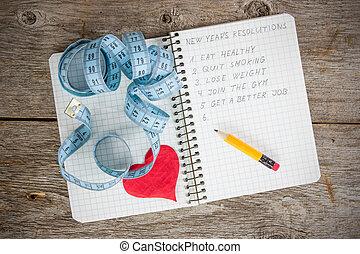resolutions, メモ用紙, 書かれた