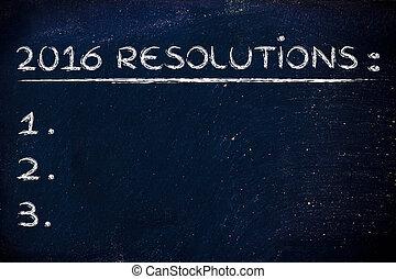 resolutions:, 空, テキスト, 付け加えなさい, リスト, 背景, あなたの, 2016