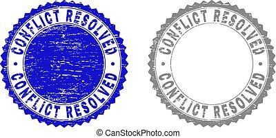 resolved, スタンプ, グランジ, 対立, textured