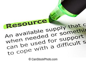 'resource', ハイライトした, 緑
