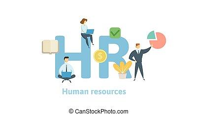 resources., 概念, 手紙, 平ら, 隔離された, イラスト, 時間, バックグラウンド。, ベクトル, icons., 人間, 白, keywords