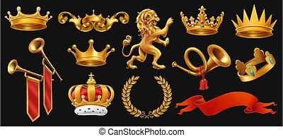 ribbon., セット, king., 金, 花輪, ライオン, 王冠, ベクトル, 黒, トランペット, 月桂樹, 3d, アイコン