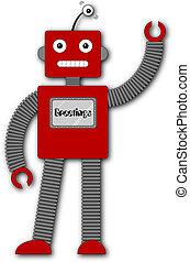 robi, レトロ, -, 挨拶, ロボット