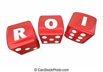 roi, リターン, さいころ, 2, イラスト, 回転, 手紙, 投資, 3d