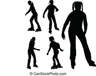 rollerskating, 女の子