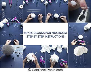 room., 子供, いかに, 綿, 作りなさい, 指示, ステップ, 雲