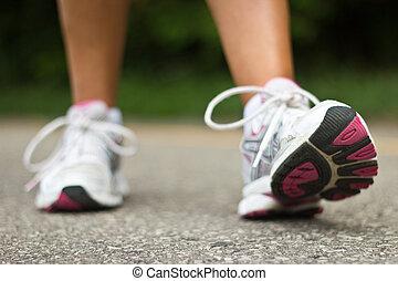 runner., 靴, close-up., 動くこと, 女性