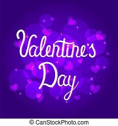 s, バレンタイン, 旗, st. 。, ロマンチック, 心, lettering., 日